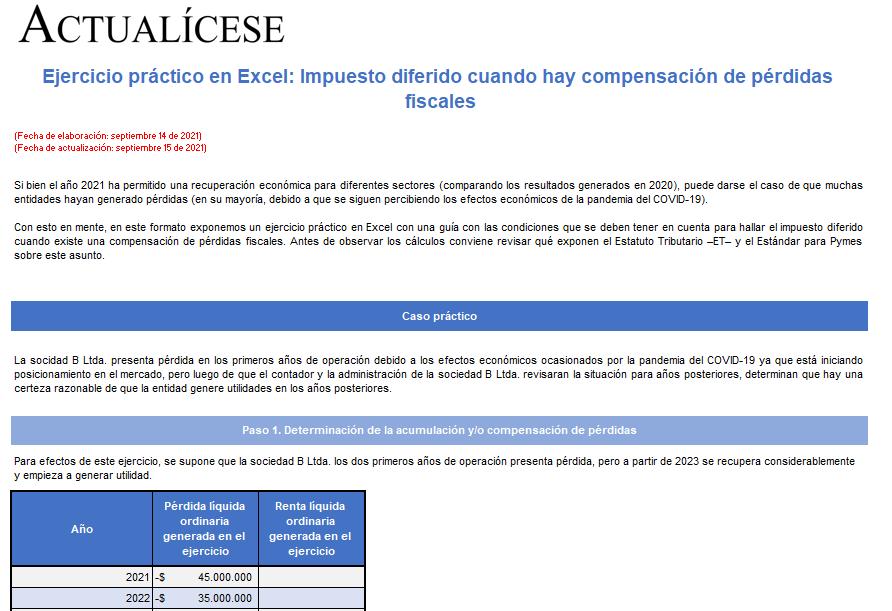 Ejercicio práctico en Excel: impuesto diferido cuando hay compensación de pérdidas fiscales