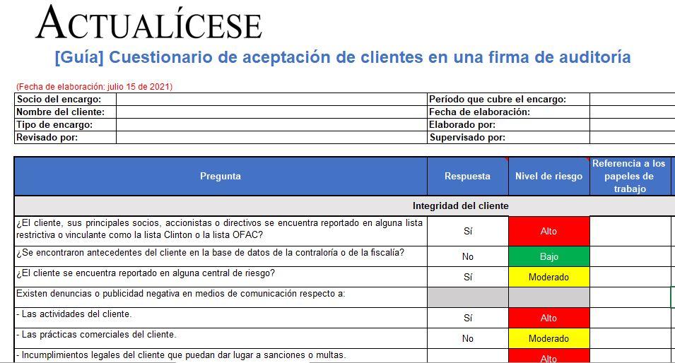 Cuestionario en Excel para la aceptación de clientes en una firma de auditoría