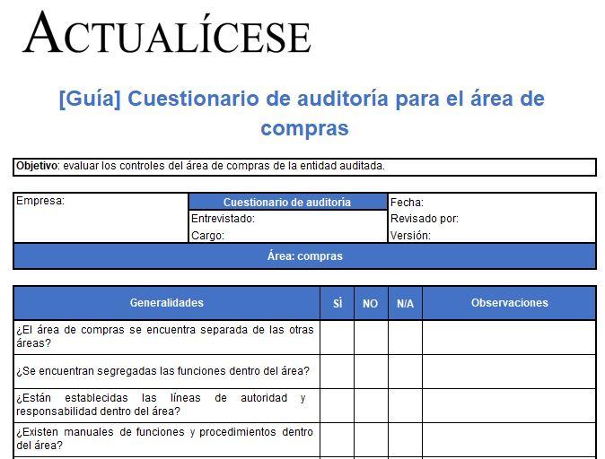 Cuestionario de auditoría para el área de compras
