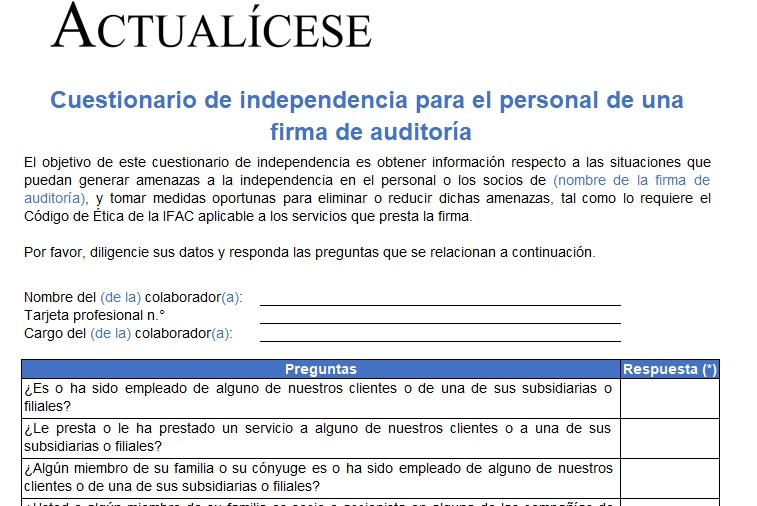Cuestionario de independencia para el personal de una firma de auditoría