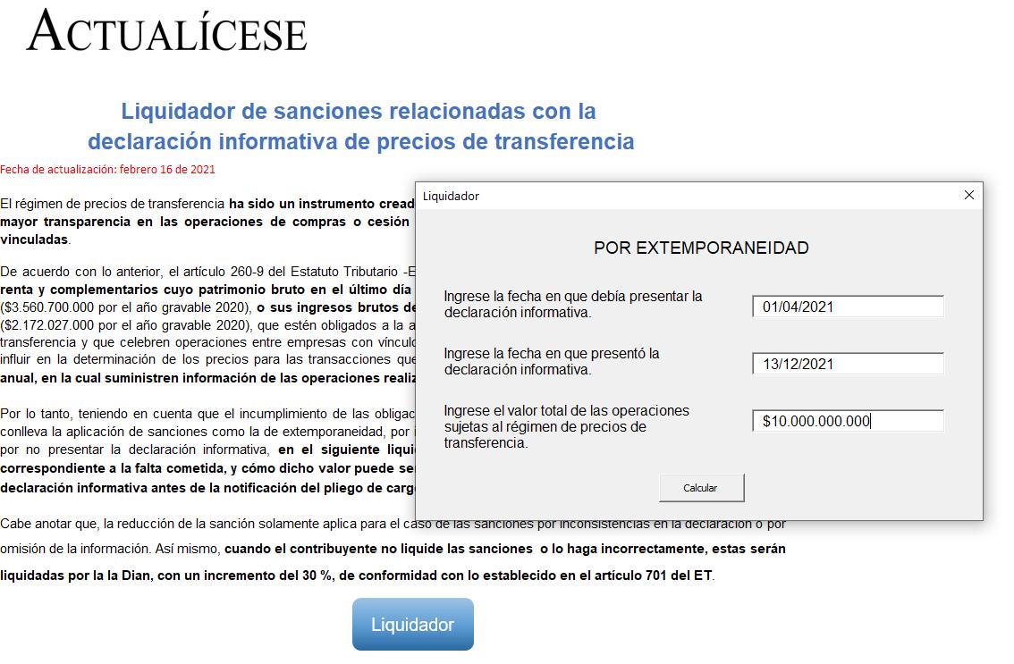 Liquidador de sanciones relacionadas con la declaración informativa de precios de transferencia