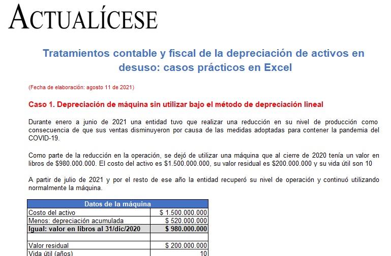 Tratamientos contable y fiscal de la depreciación de activos en desuso: casos prácticos en Excel