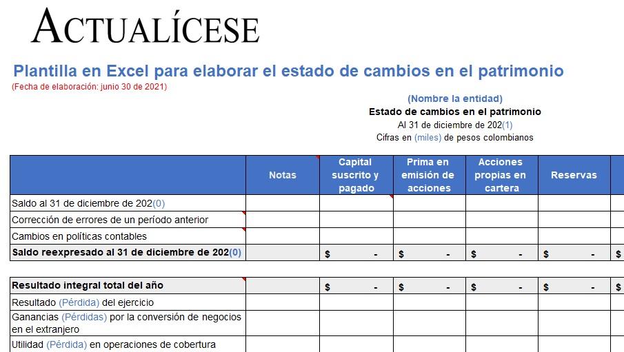 Plantilla en Excel para elaborar el estado de cambios en el patrimonio