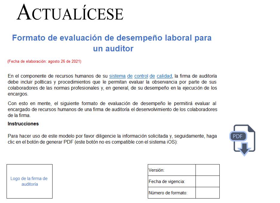 Formato de evaluación de desempeño laboral para un auditor