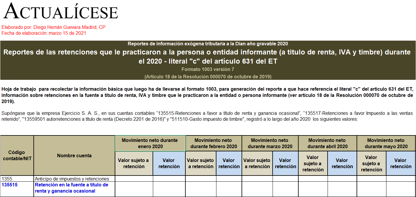 Plantilla del formato exógena 1003 por el año gravable 2020: retenciones que le practicaron al informante