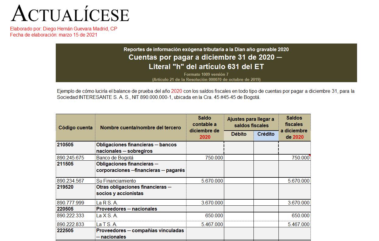 Plantilla del formato de exógena 1009 por el año gravable 2020: reporte de cuentas por pagar