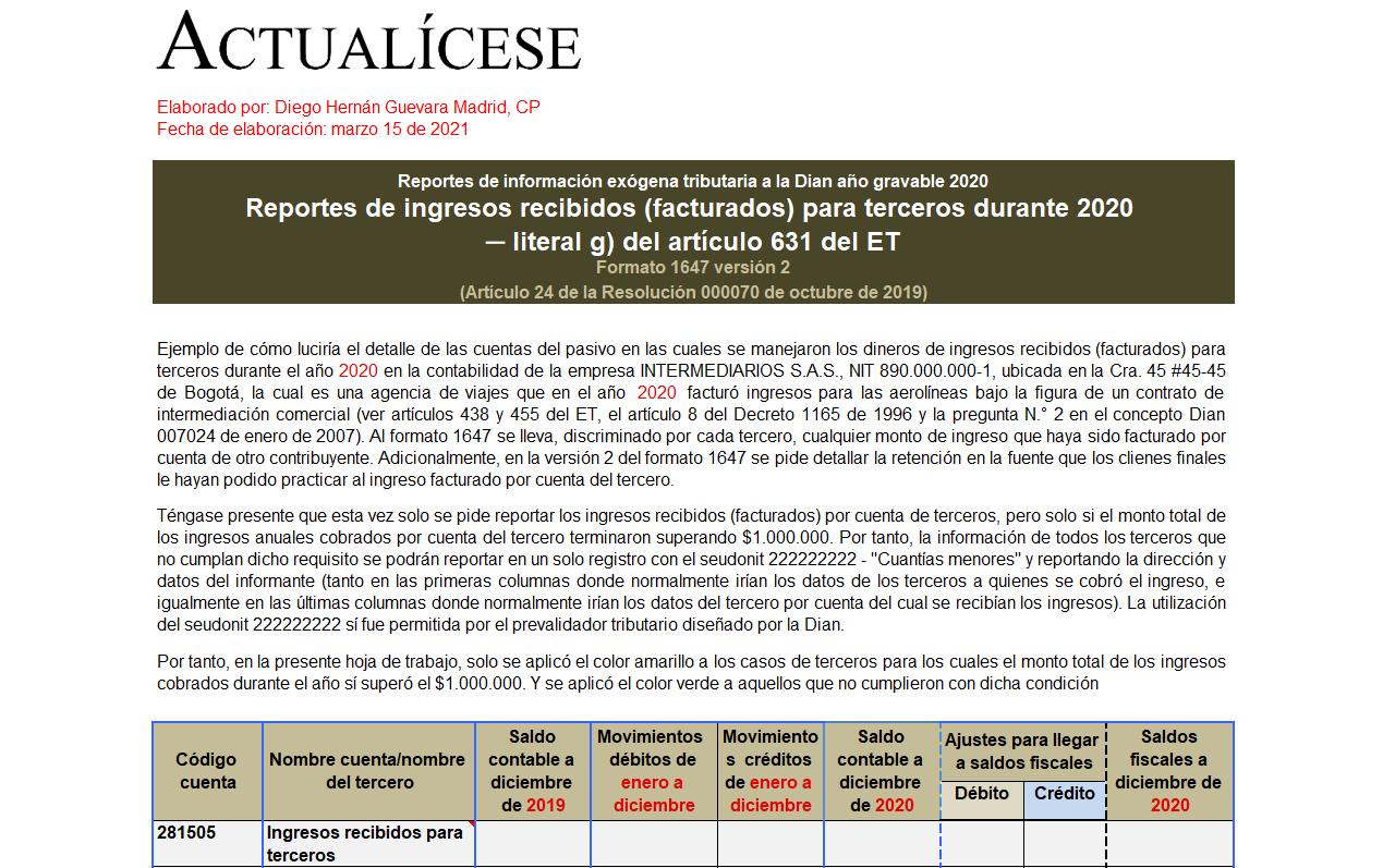 Plantilla del formato exógena 1647 por el año gravable 2020: reporte de ingresos recibidos para terceros