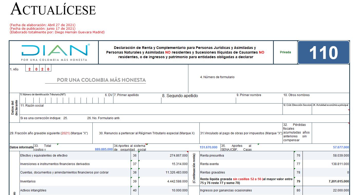 Formulario 110 y formato 2516 para declaración de renta 2020 de personas naturales obligadas a llevar contabilidad
