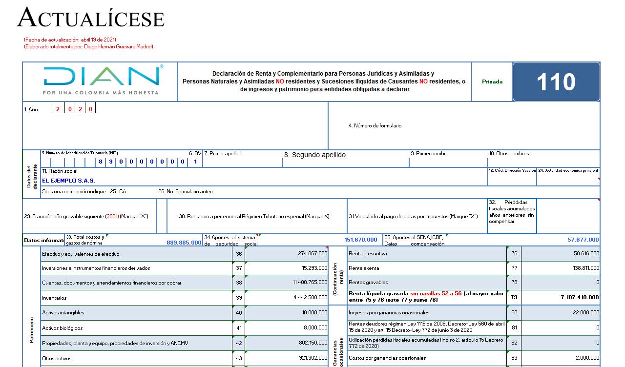 Liquidador del formulario 110 y formato 2516: declaración de renta – personas jurídicas AG 2020