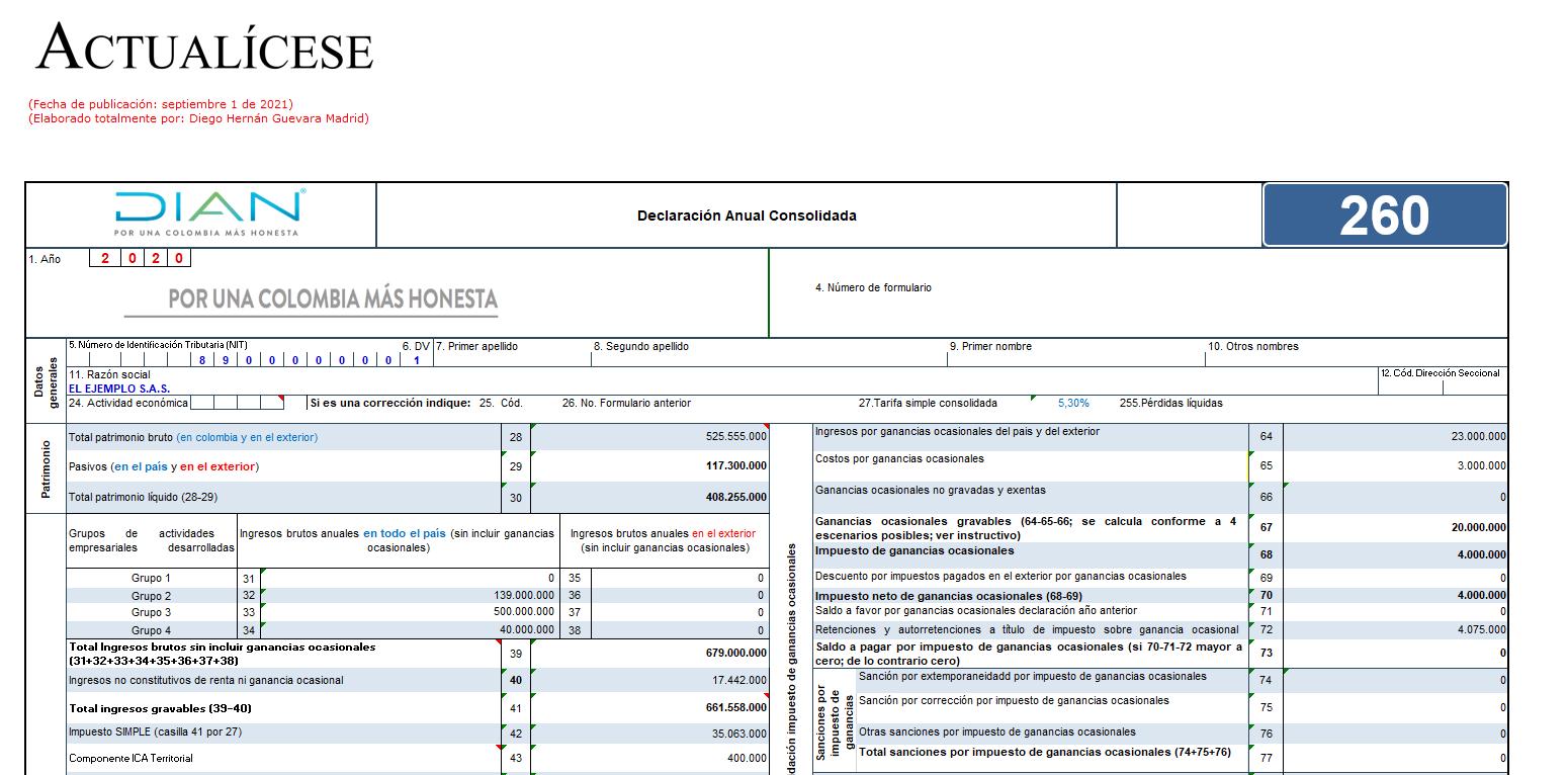 Formulario 260 AG 2020 – declaración anual régimen simple (personas naturales que no llevan contabilidad)