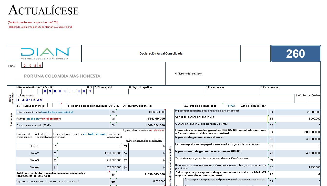 Formulario 260 AG 2020 – declaración anual régimen simple (personas naturales y jurídicas que llevan contabilidad)