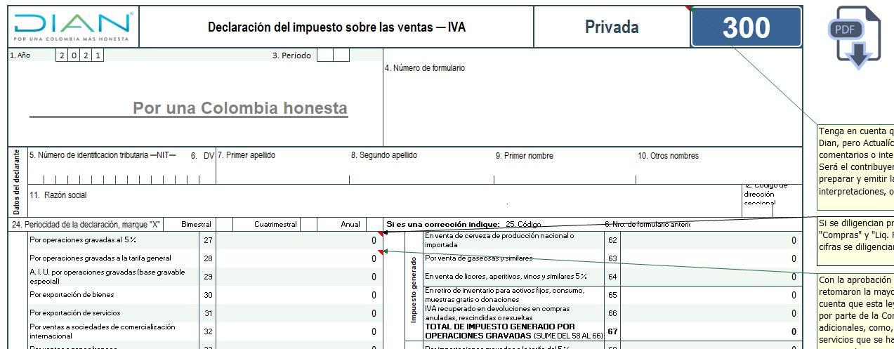 Plantilla para elaborar el formulario 300 para las declaraciones del IVA durante 2021