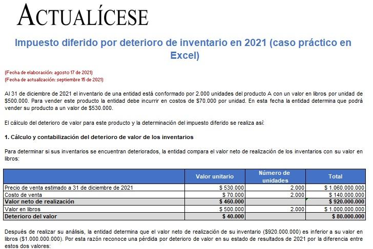 Impuesto diferido por deterioro de inventario en 2021: caso práctico en Excel