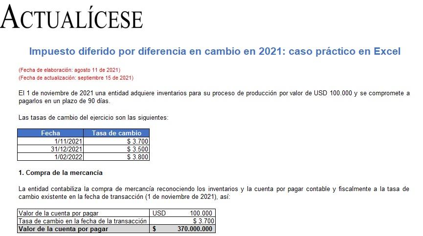 Impuesto diferido por diferencia en cambio en 2021: caso práctico en Excel