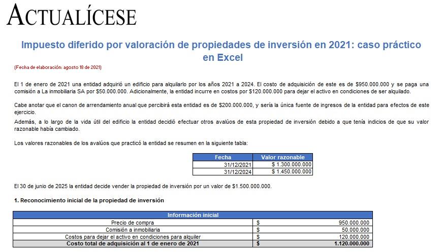 Impuesto diferido por valoración de propiedades de inversión en 2021: caso práctico en Excel