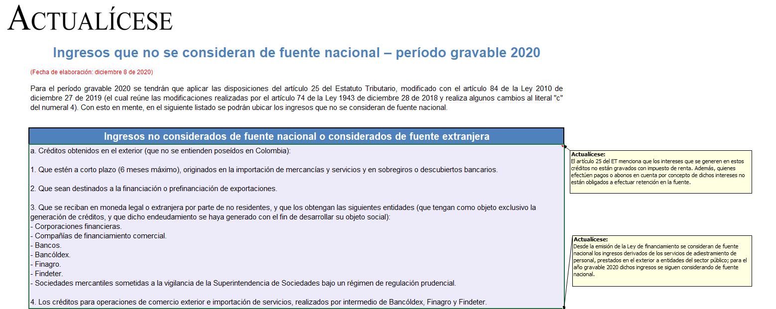 Modelo para identificar ingresos que no se consideran de fuente nacional – período gravable 2020