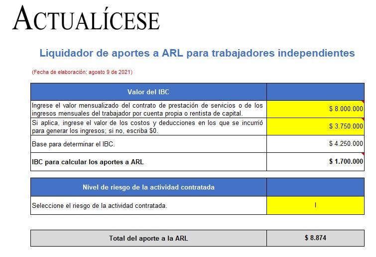 Liquidador de aportes a ARL para trabajadores independientes