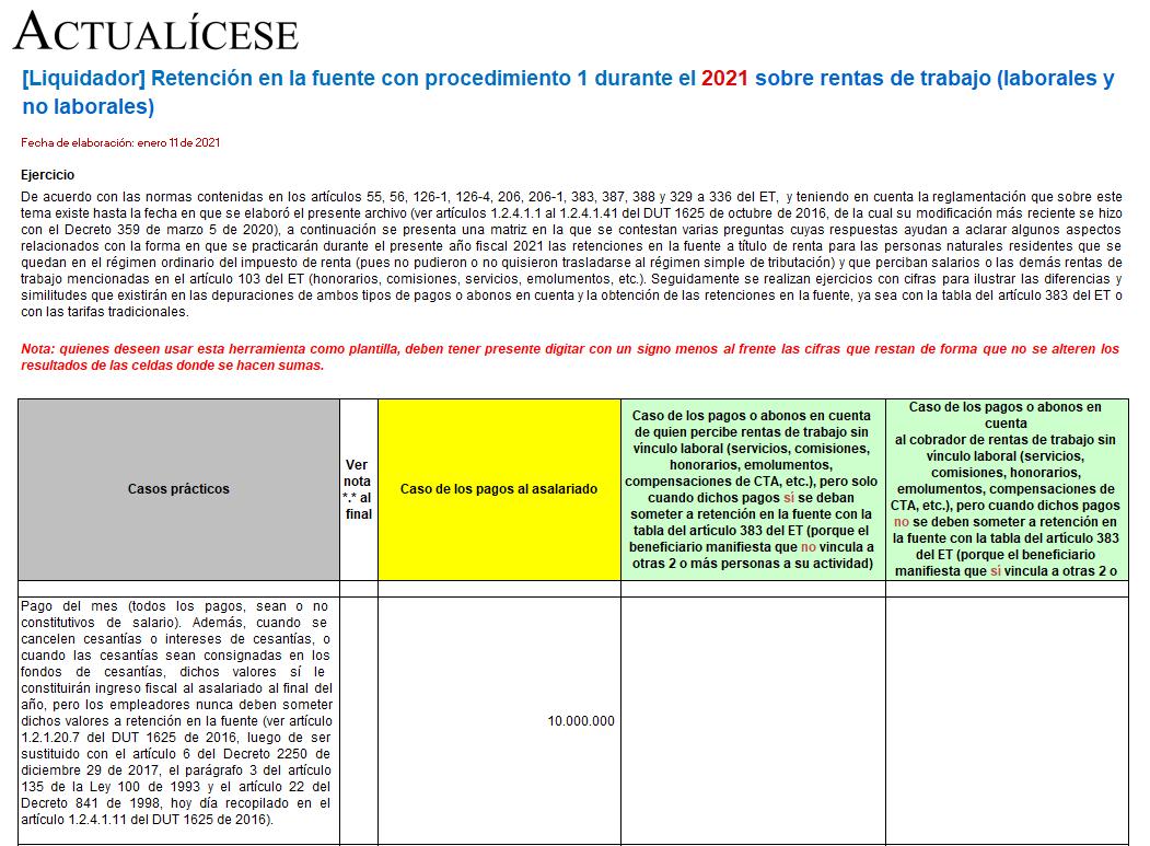 Liquidador de retención en la fuente con procedimiento 1 sobre rentas de trabajo durante 2021