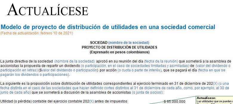 Modelo de proyecto de distribución de utilidades en una sociedad comercial