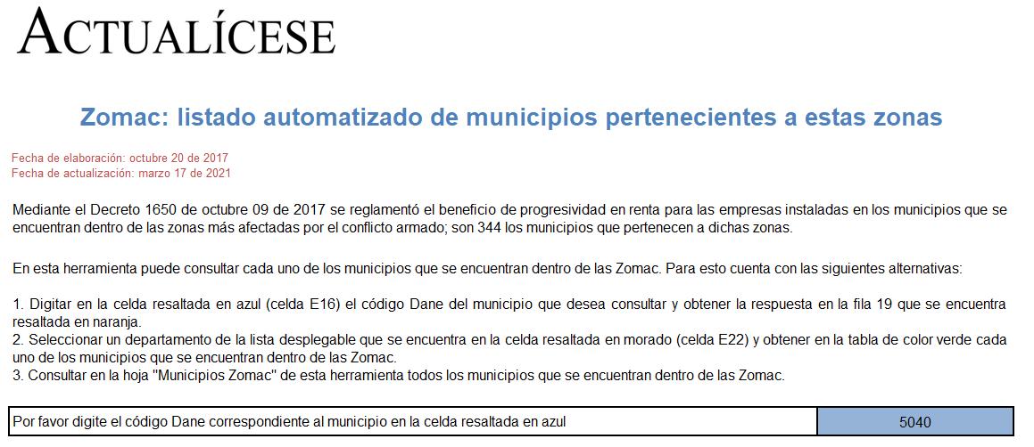 Zomac: listado automatizado de municipios pertenecientes a estas zonas