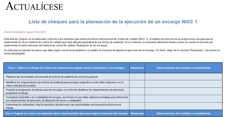 Lista de chequeo para la planeación de la ejecución de un encargo NICC 1