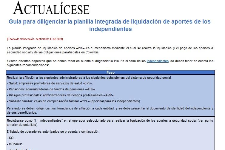 Guía para diligenciar la planilla integrada de liquidación de aportes de los independientes