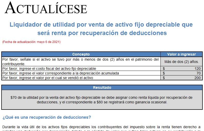 Liquidador de utilidad por venta de activo fijo depreciable que será renta por recuperación de deducciones