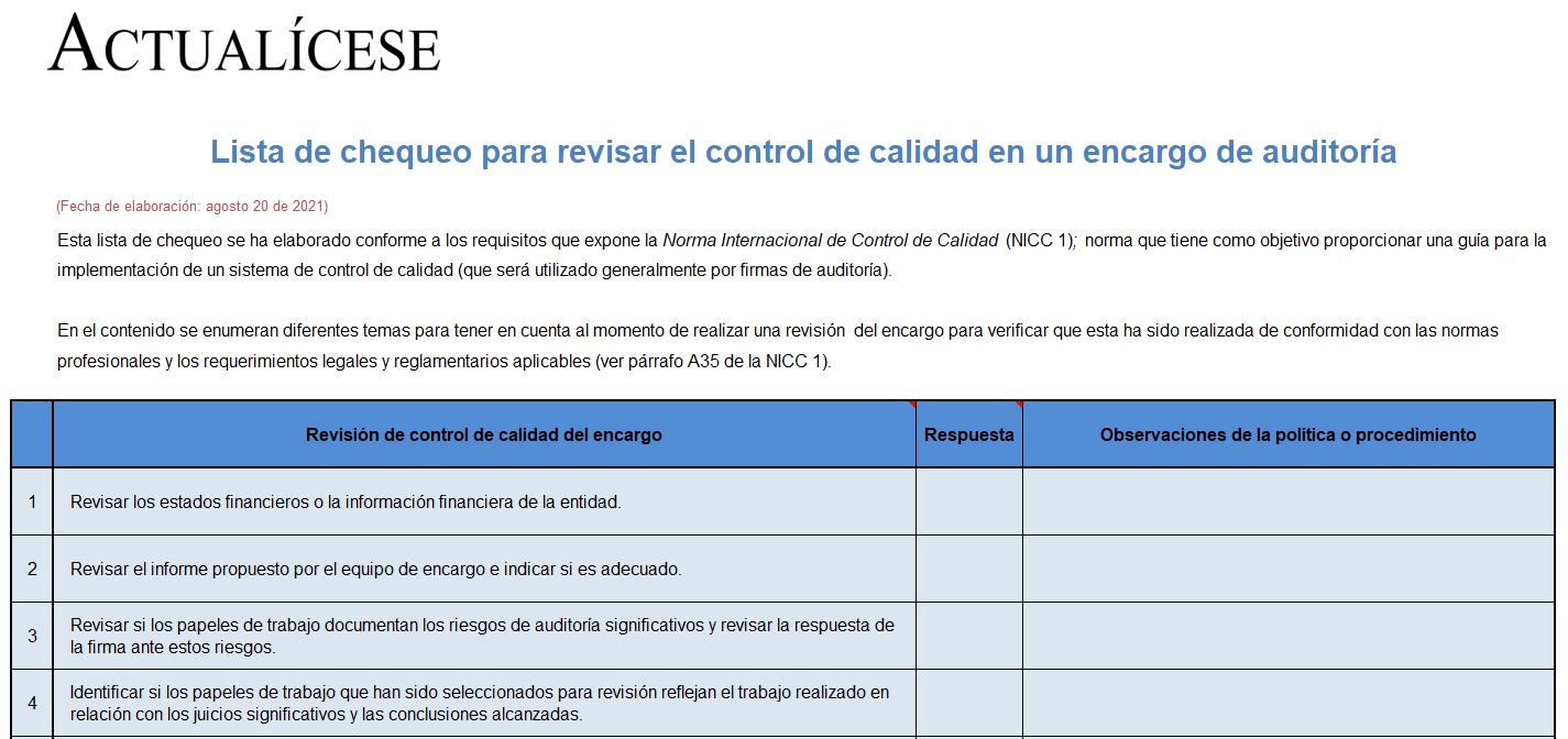 Lista de chequeo para revisar el control de calidad en un encargo de auditoría