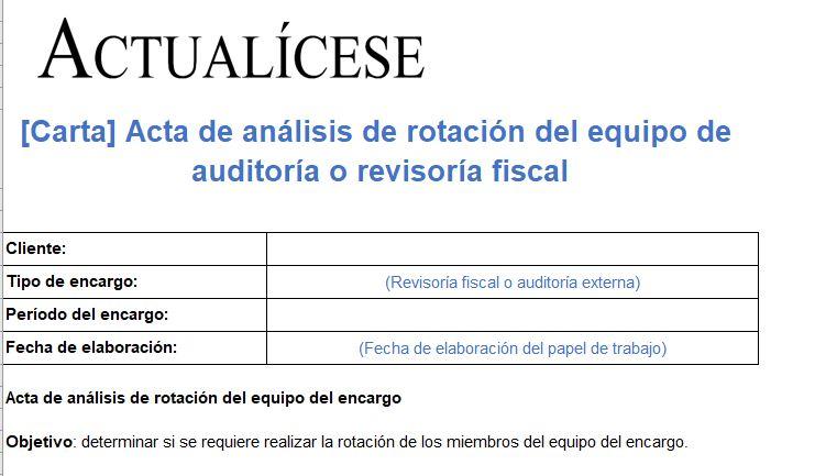 Acta de análisis de rotación del equipo de auditoría o revisoría fiscal