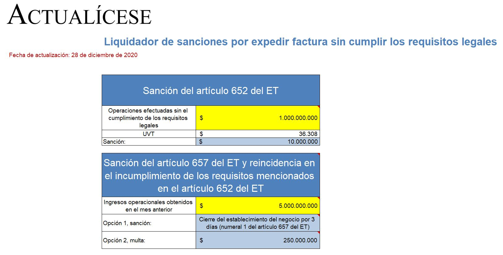Liquidador de sanciones por expedir factura sin cumplir los requisitos legales
