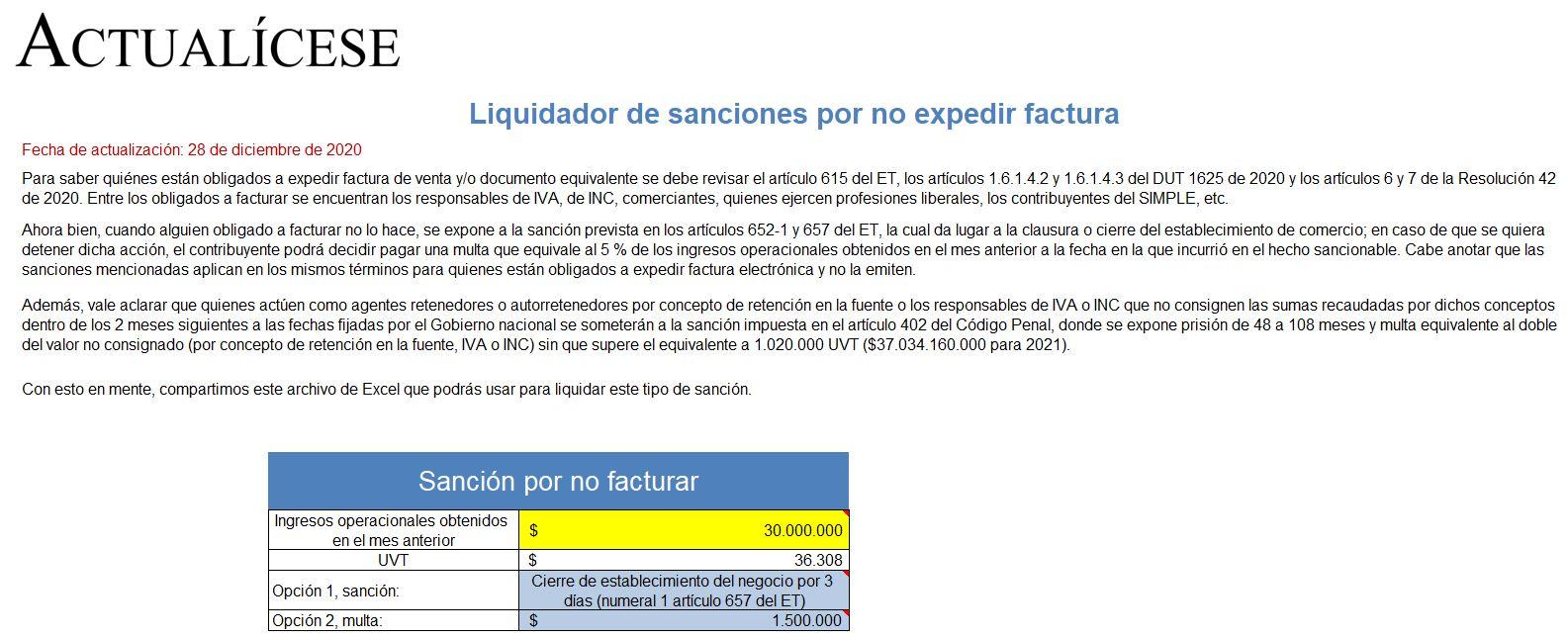 Liquidador de sanciones por no expedir factura