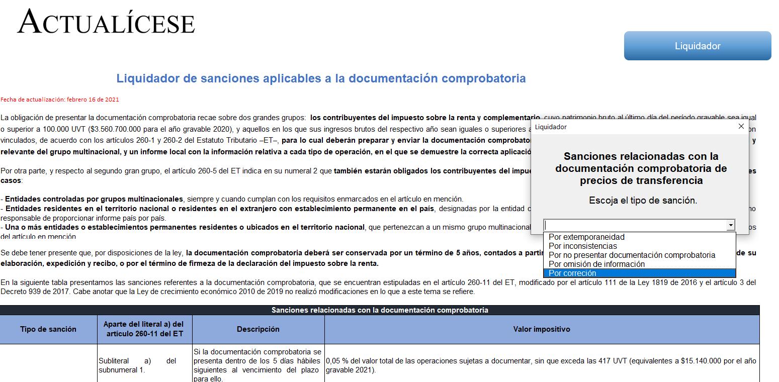 Liquidador de sanciones aplicables a la documentación comprobatoria