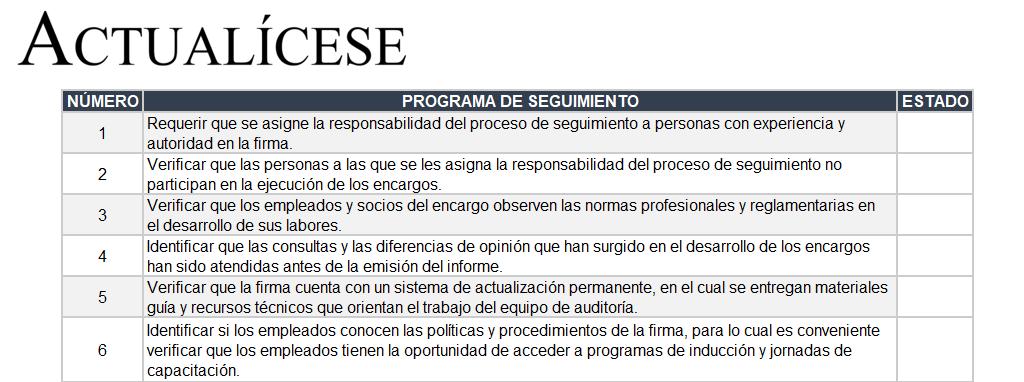 Lista de chequeo para la etapa de seguimiento en encargo de auditoría bajo la NICC 1
