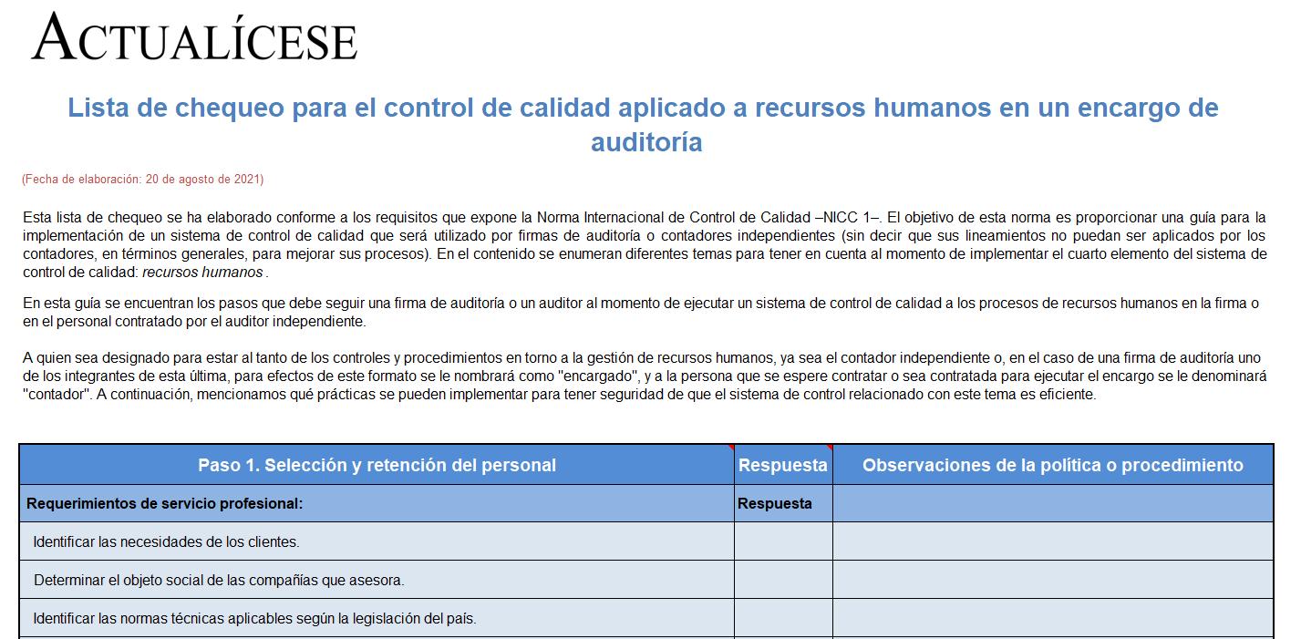 Lista de chequeo para el control de calidad aplicado a recursos humanos en un encargo de auditoría