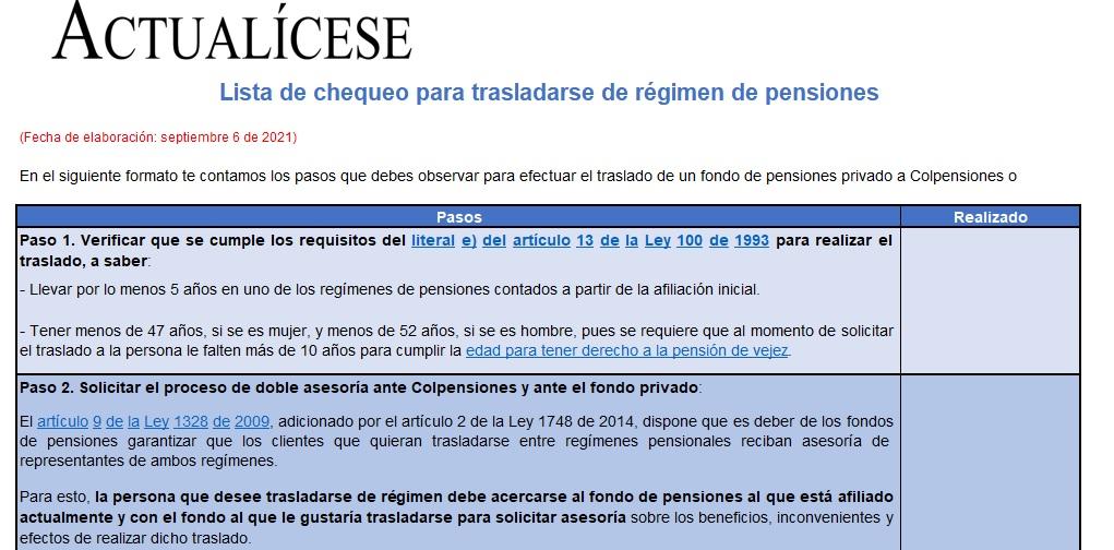 Lista de chequeo para trasladarse de régimen de pensiones