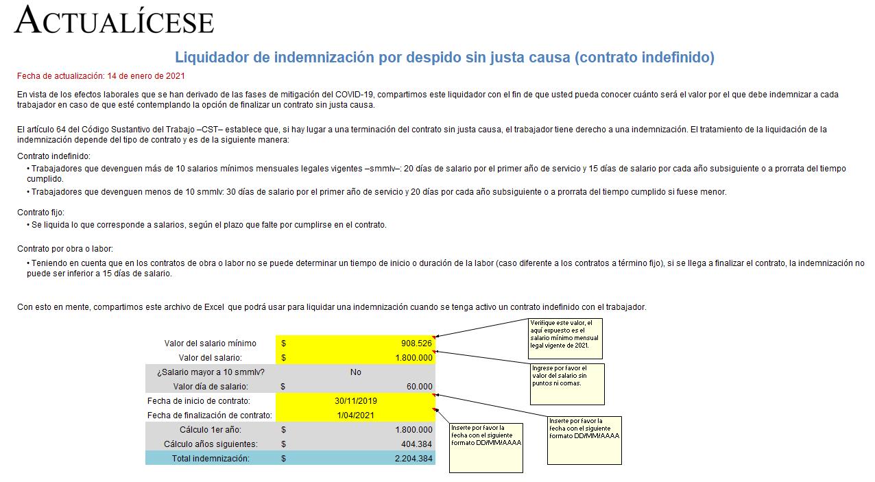 Liquidador de indemnización por despido sin justa causa (contrato indefinido)