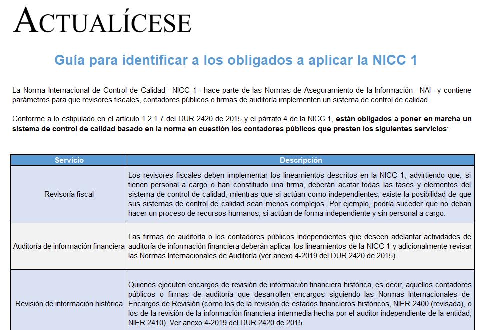Matriz para identificar quiénes están obligados a aplicar la NICC 1