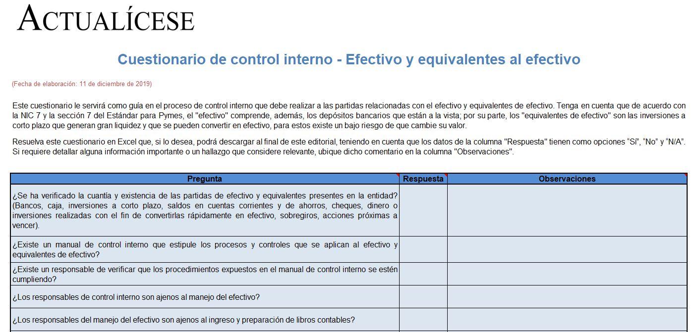 Cuestionario control interno - Efectivo y equivalentes de efectivo