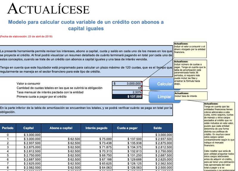 [Guía] Modelo para calcular cuota variable de un crédito con abonos a capital iguales
