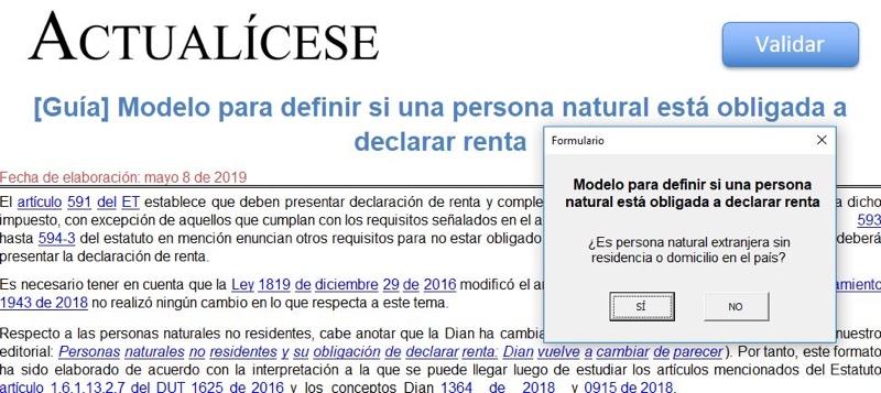 [Guía] Modelo para definir si una persona natural está obligada a declarar renta