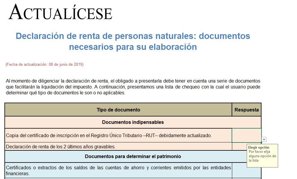 Declaración de renta de personas naturales: documentos necesarios para su elaboración