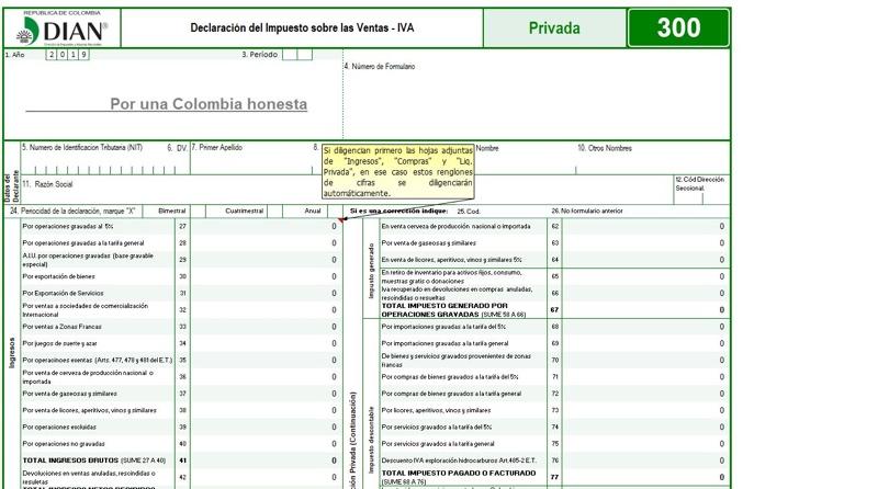 Plantilla para elaborar el formulario 300 para las declaraciones del IVA durante 2019