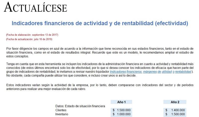 Indicadores financieros de actividad y rentabilidad