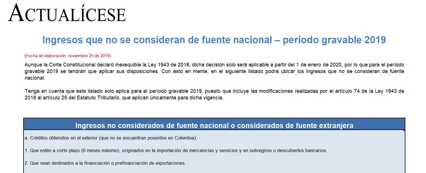 Ingresos que no se consideran de fuente nacional – período gravable 2019