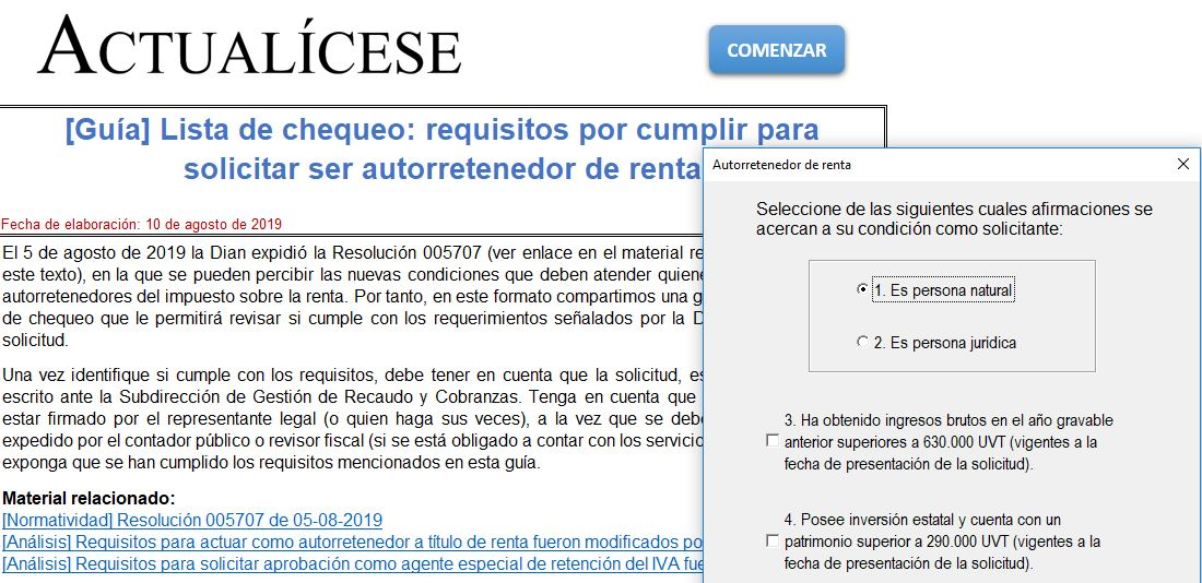 Lista de chequeo: requisitos por cumplir para solicitar ser autorretenedor de renta