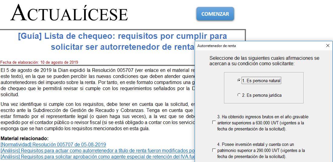 [Guía] Lista de chequeo: requisitos por cumplir para solicitar ser autorretenedor de renta