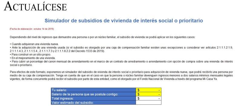 [Liquidador] Simulador de subsidio de vivienda de interés social o prioritario