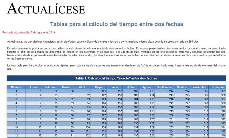 [Guía] Tablas para el cálculo del tiempo entre dos fechas