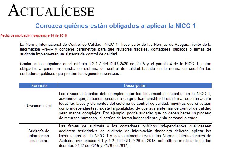 Conozca quiénes están obligados a aplicar la NICC 1
