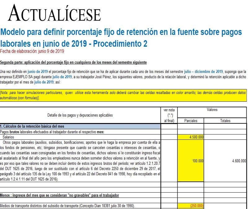 Retención en la fuente sobre pagos laborales en junio de 2019 – Procedimiento 2